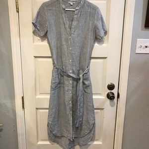 Standard James Perse Linen Shirt Dress Blue Small